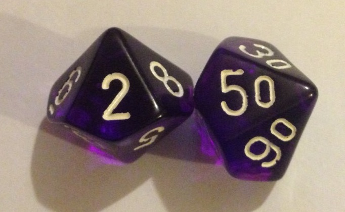 OK, so our dice don't have zeroes on them...