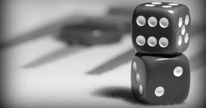 Dice on a backgammon board