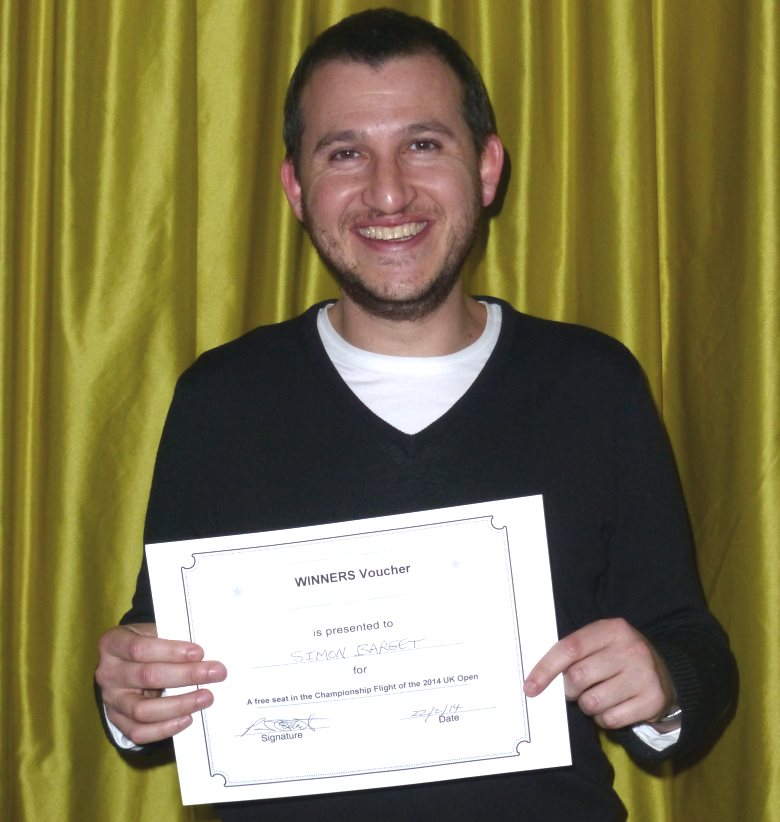 Simon Barget with his winner's certificate